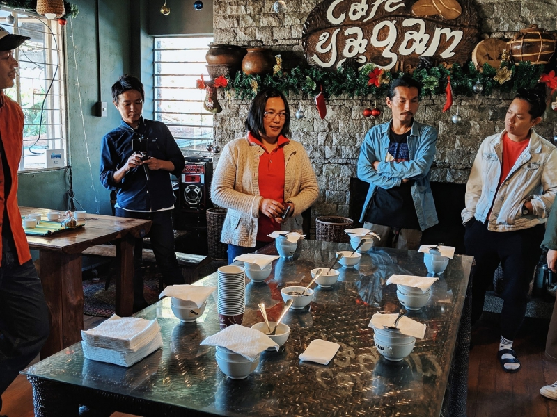 Cupping session with coffee shop owners